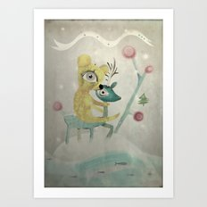 Vintage Whimsical Christmas Art Print