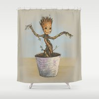 groot Shower Curtains featuring Baby Groot by Sara Soto