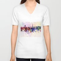 washington dc V-neck T-shirts featuring Washington DC skyline in watercolor background  by Paulrommer