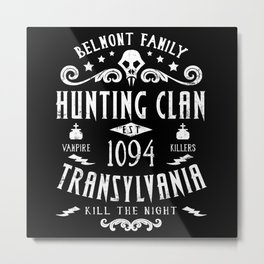 Geeky Gamer Chic Castlevania Inspired Belmont Family Hunting Clan Metal Print