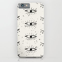 Hand drawn ethnic eyes pattern with grunge background iPhone Case