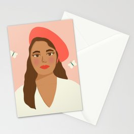 Lorelei in Tomato Red | Modern Portrait Stationery Cards