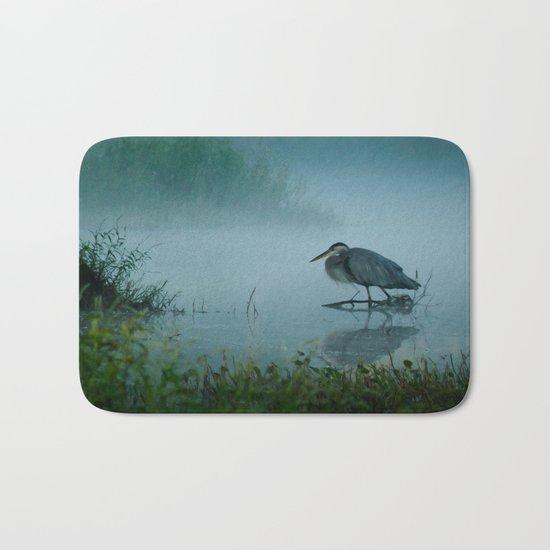 Blue Heron Misty Morning Bath Mat
