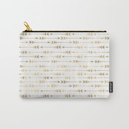 White & Gold Arrow Pattern Carry-All Pouch