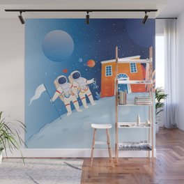 Astronaut couple buying a house in the Moon Wall Mural