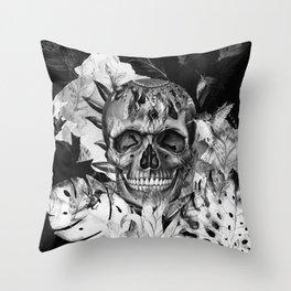 Black White Boho Skull Throw Pillow