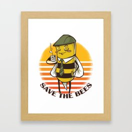 Save The Bees Bee Lover Gift Beekeeper No Planet B Framed Art Print