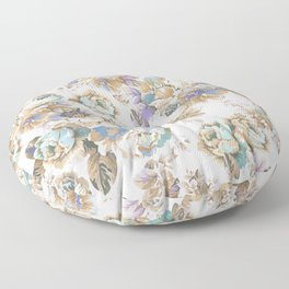 Vintage blush lavender brown teal blue roses floral Floor Pillow