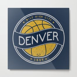 Denver basketball vintage logo navy Metal Print