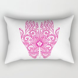 Mehndi Tattoo Hands | Ethnic Tattoos | Henna Tattoos | Tattoo Art | Hot Pink | Rectangular Pillow
