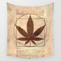 marijuana Wall Tapestries featuring vitruvian marijuana by Emekli Astronot