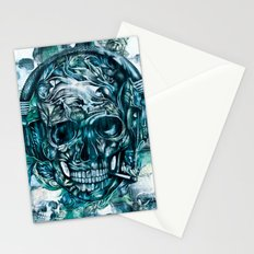 Grunge smoking skull with headphones. Stationery Cards