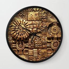 Golden Tiles Wall Clock