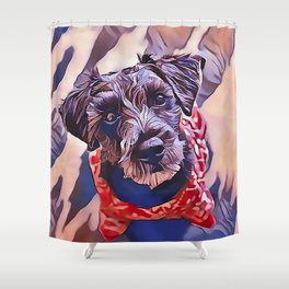 The Schnoodle - A Schnauzer Poodle Mix Breed Shower Curtain