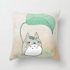 Floral Totoro Throw Pillow