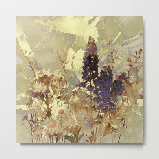 floral on beige Metal Print