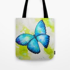 Blue Butterfly Watercolor Painting Tote Bag