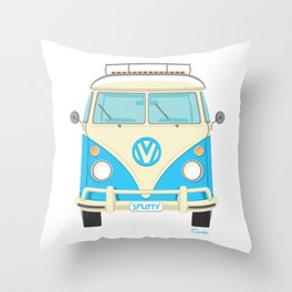 Mid Century Modern Micro Bus by Art of Scooter Throw Pillow