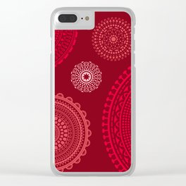 Pink mandala ornament circles on dark red background. Clear iPhone Case