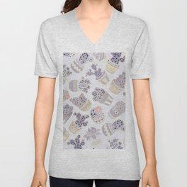Elegant modern faux gold lavender pink cactus floral Unisex V-Neck