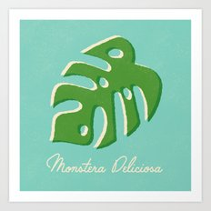 Monstera Aqua Art Print