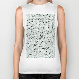 'Speckle Party' Mint Green Black White Dots Speckles Terrazzo Pattern Biker Tank