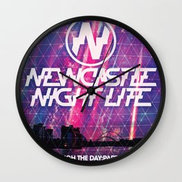 """Newcastle Night Life """"Sleep Through The Day:Party All Night"""" Wall Clock"""