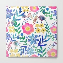 Stylish girly pink flowers hand paint design Metal Print