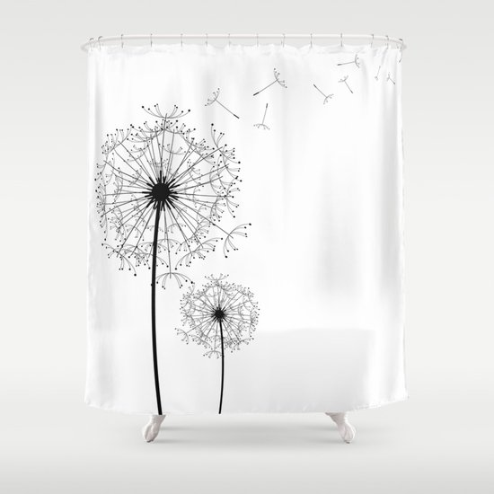 black and white dandelion sketch shower curtain by