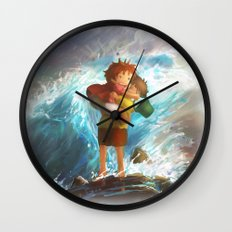 girl in the sea Wall Clock