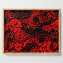 Moody Florals in Red Serving Tray