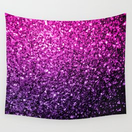 Purple Pink Ombre glitter sparkles Wall Tapestry