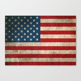 Old and Worn Distressed Vintage Flag of The United States Canvas Print