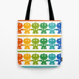Rainbow Robots Holding Hands Tote Bag