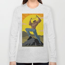 african slave breaking chains in the mountains Long Sleeve T-shirt