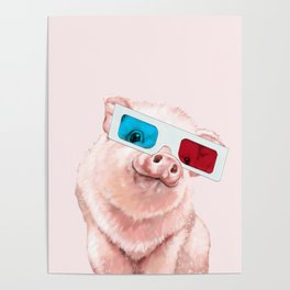 Baby Pink Pig Wear Glasses Pink Poster