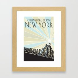 Queensboro Bridge - Blue/Beige, Thin Black Type Framed Art Print