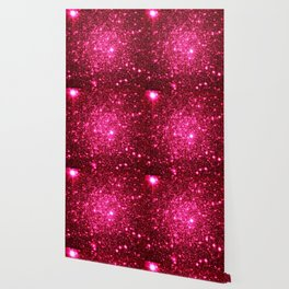 Hot Pink Glitter Galaxy Stars Wallpaper