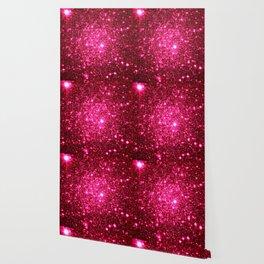 Hot Pink Glitter Galaxy Stars Wallpaper