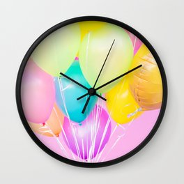 Handheld Balloons on Pink (Close-Up) Wall Clock