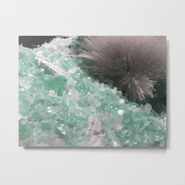 Mesolite with Fluorapophyllite Metal Print