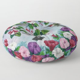 Hummingbirds in Fuchsia Flower Garden Floor Pillow