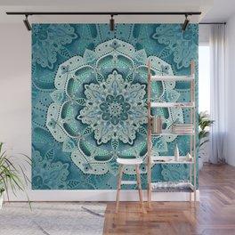 Winter blue floral mandala Wall Mural