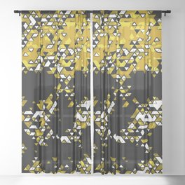 Geometric Mustard Yellow Skull Composed Of Triangles Sheer Curtain