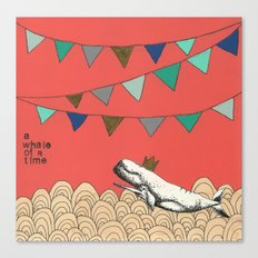 A whale of a time in pink Canvas Print