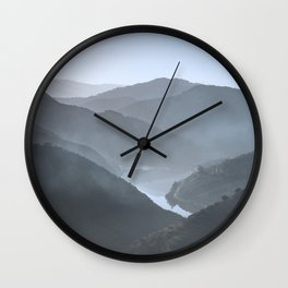 Blue landscape Vale do Douro, Portugal. Wall Clock