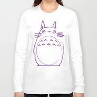 hayao miyazaki Long Sleeve T-shirts featuring STUDIO GHIBLI HAYAO MIYAZAKI - MY NEIGHBOR TO TO RO by The Fugu Project