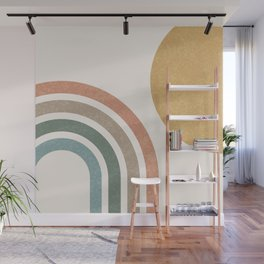 Mid Century Colorful Sun & Rainbow Wall Mural