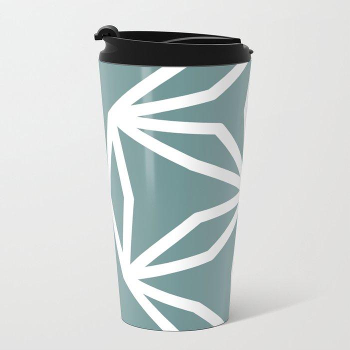 CUBIC FLOWER PATTERN - blue Metal Travel Mug