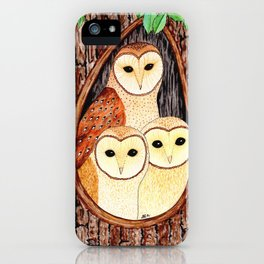 Barn Owl Family iPhone Case